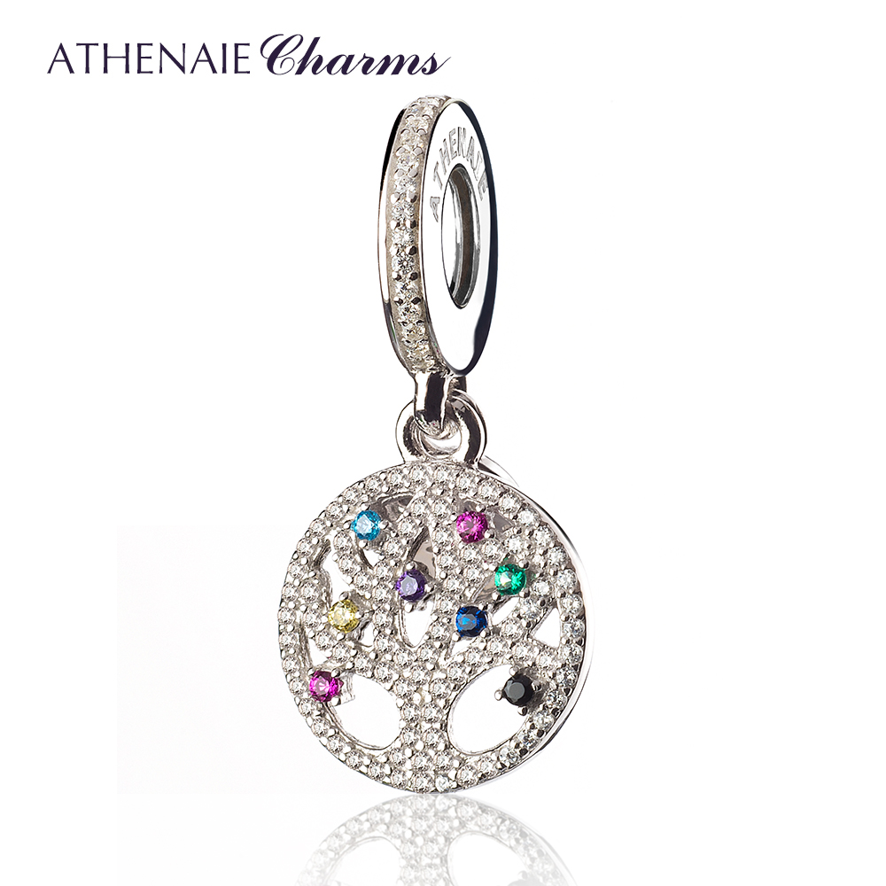 ATHENAIE 925 Sterling Silver Pave Multi-Colored CZ Family Tree Dangle Pendant Drops Beads Fit European Charms Bracelets NecklaceATHENAIE 925 Sterling Silver Pave Multi-Colored CZ Family Tree Dangle Pendant Drops Beads Fit European Charms Bracelets Necklace