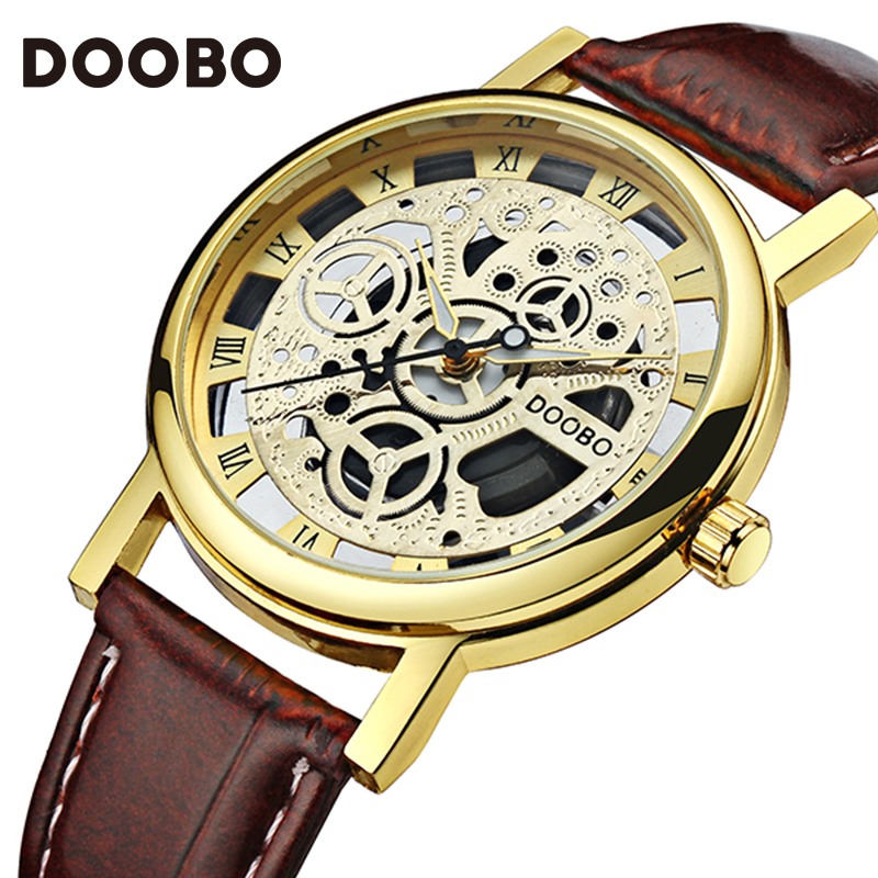2017 DOOBO Brand Mens Watches Luxury Military Sport Wristwatch Leather Hollow Quartz Watch Relogio Masculino Montre Homme Watch mens watches top brand luxury doobo military sport wristwatch leather hollow quartz watch relogio masculino montre homme watch