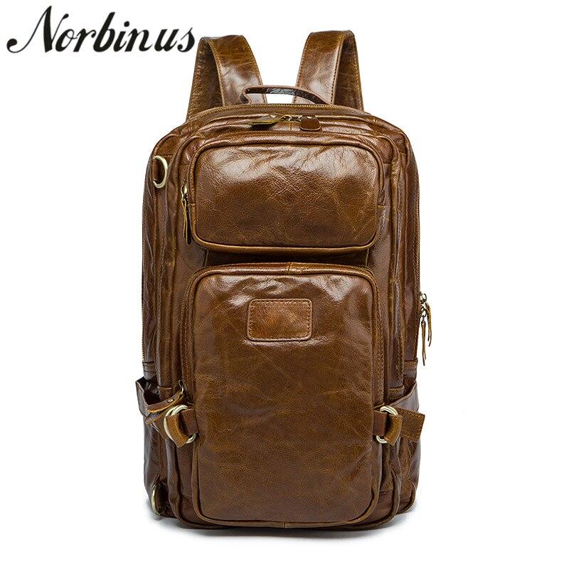 Norbinus Men's Genuine Leather Backpack Male Laptop Computer Backpacks Teenager Boys School Bag Travel Shoulder Bagpack mochila цена 2017