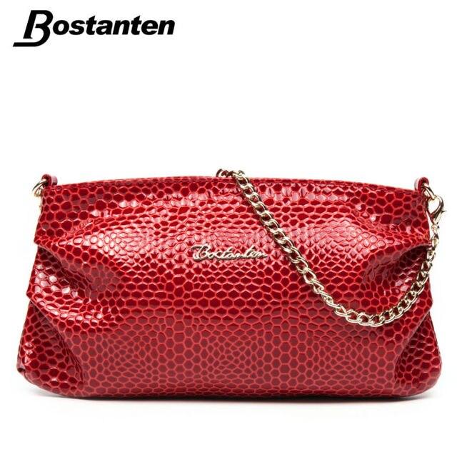 Bostanten Hot Women Brand Genuine Leather Handbag With Chain Handles Shoulder Bag Snake Embossed Retro Small