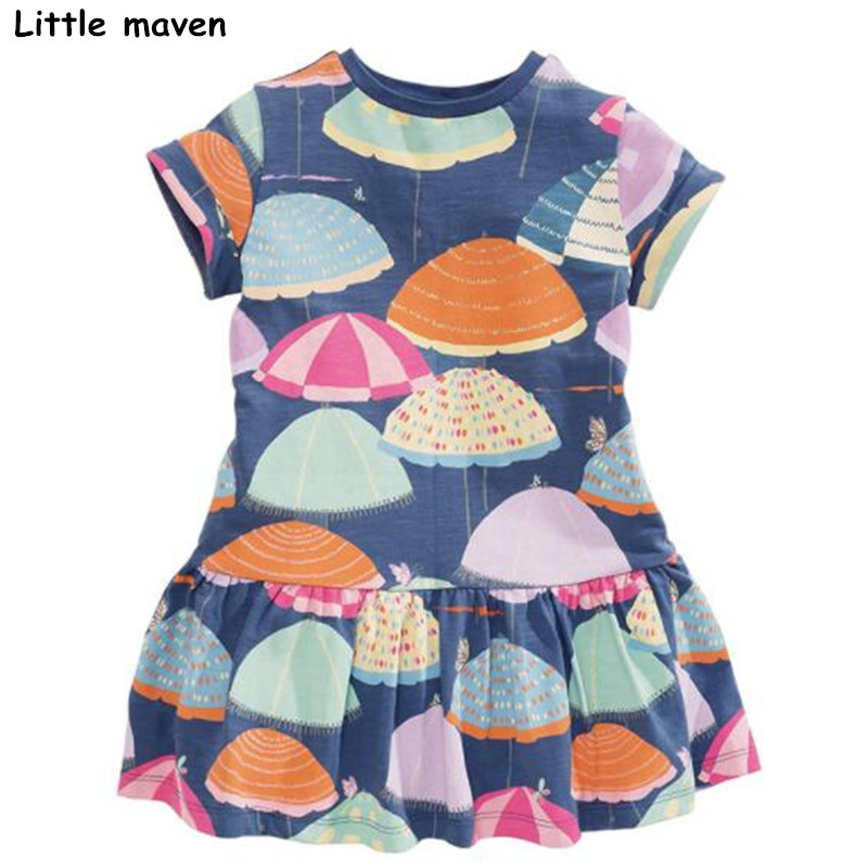 Little maven 2018 new summer baby girls brand dress kids Cotton umbrella print children short sleeve dresses S0333 jessica simpson little girls kenzie graphic with pleather sleeve