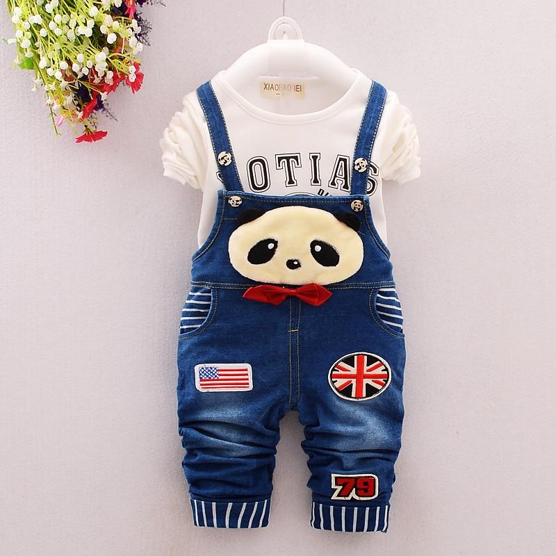 2016 New Hot Spring Baby Girls Clothing Set Children Denim Overalls Panda Jeans Pants + Blouse Full Sleeve 2pcs Kids Clothes Set