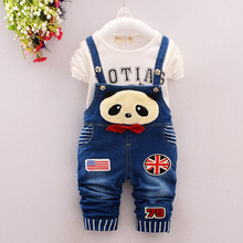 2016 New Hot Spring Baby Girls Clothing Set Children Denim Overalls Panda Jeans Pants + Blouse Full Sleeve 2pcs Kids Clothes Set