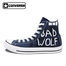 Classic Blue Converse All Star Man Woman Hand Drawn Shoes Police Box Custom Design Hand Painted