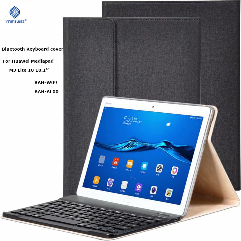 M3 Lite 10 Bluetooth Keyboard PU Leather Cover For Huawei MediaPad M3 Lite 10 BAH-W09 BAH-AL00 10.1'' Tablet Protective Case 9h tempered glass screen protector for huawei mediapad m3 lite 10 bah w09 al00 10 1 inch tablet protective toughened glass film