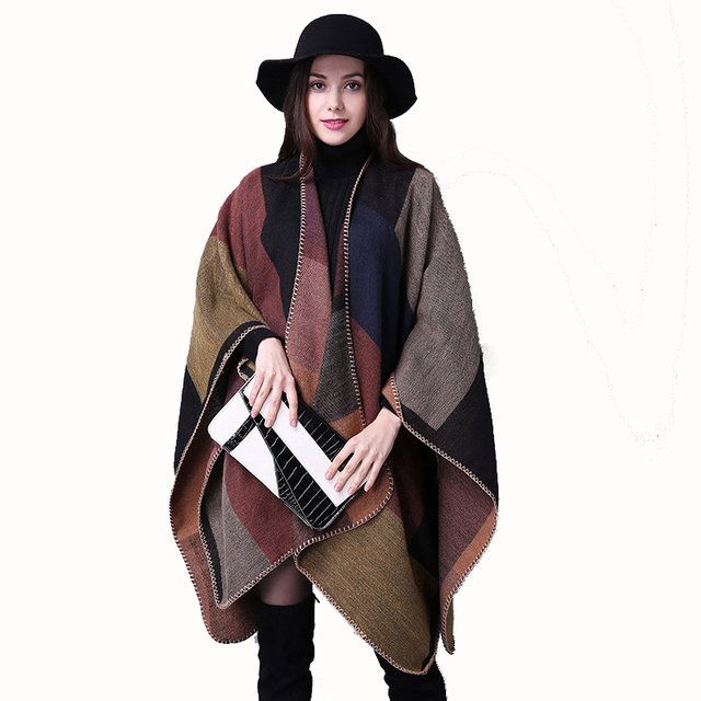155*130 Winter Scarf shawl women 2016 color Plaid Cashmere Scarf Pashmina luxury brand wild warm Poncho women scarves and wraps