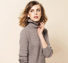 100%Cashmere Sweater Women Brown Gray Pullover Turtleneck Solid Natural Fabric High Quality Free Shipping