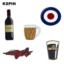 Vino Beer Cup Guitar Helicopter Cross Lapel Pin Badge Pins Beautiful Brooches Coins Collectibles