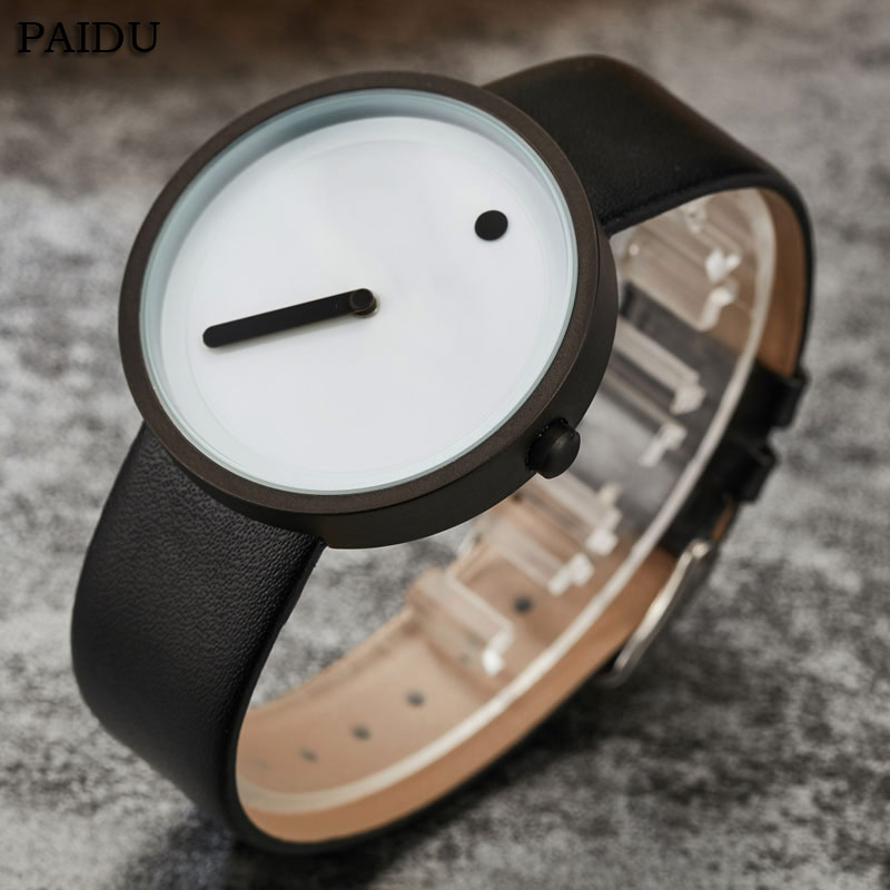 Unique Gift Cool Minimalist Style Wristwatch Stainless Steel Creative Design Dot And Line Simple Leather Quartz Fashion Watches