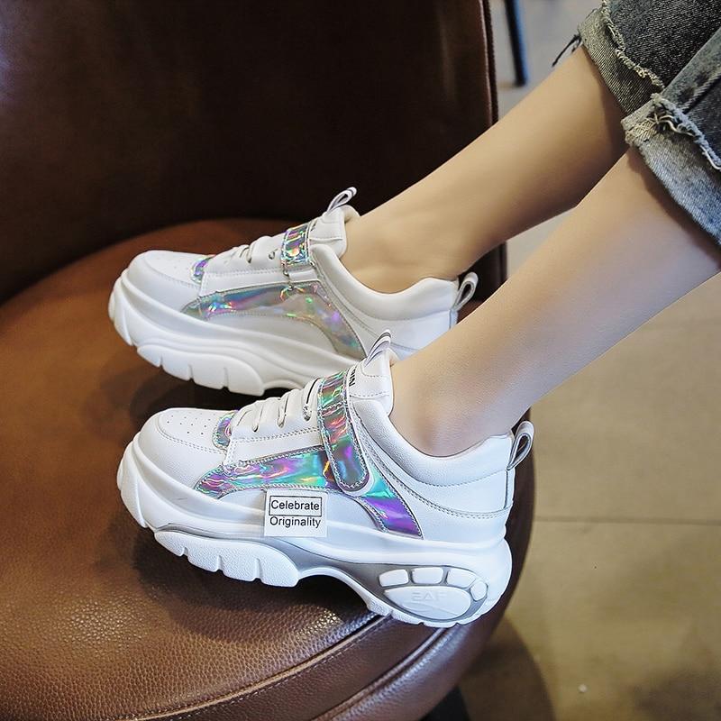 Femmes Conception En 6 blanc Respirant Nouveau Sneakers 5 De Casual Dames Noir Pu Loisirs Cuir Mode Talon Défilé Papillon Cm Chaussures awSq81Y