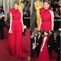 Cusrom feito Halter vestido de noite Red Carpet Emma Stone vestido da celebridade vermelho longo comprimento