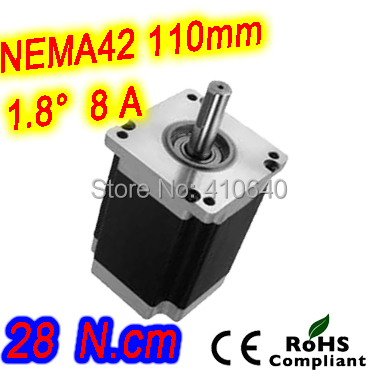 Free Shipping! Nema 42 Stepper motor 42HS79-8004S L 201mm  with 1.8 deg stepper angle current 8 A  torque 28 N.cm and 4 wires nema 34 stepper motor 34hs59 5004s l150 mm with 1 8 deg stepper angle current 5 a torque 13n cm and 4 wires