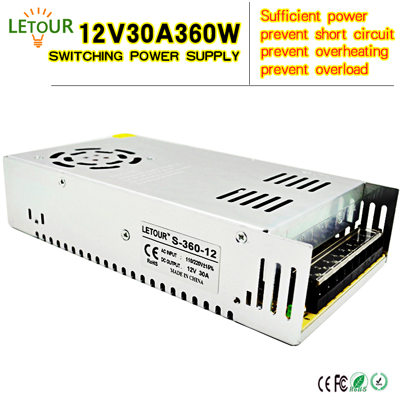 12V 30A Power Supply Adapter AC 96V-240V Transformer DC 12V 360W LED Driver AC-DC Switching Power Supply for LED Strip Motor 24v 20a power supply adapter ac 96v 240v transformer dc 24v 500w led driver ac dc switching power supply for led strip motor