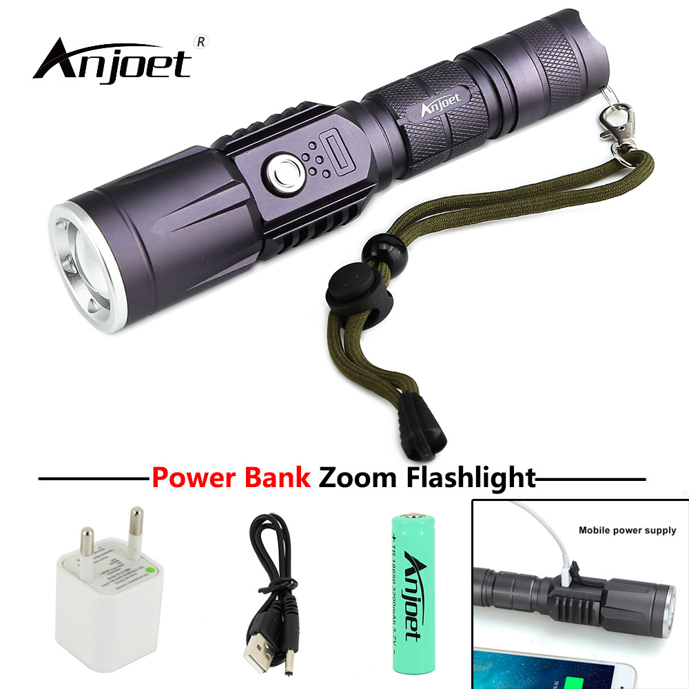 ANJOET 2000lm Rechargeable Flashlight Torch 3modes mobile power XM-L2 LED flash lamp + USB adapter + 18650 battery + usb cabl 3 6v 2400mah rechargeable battery pack for psp 3000 2000
