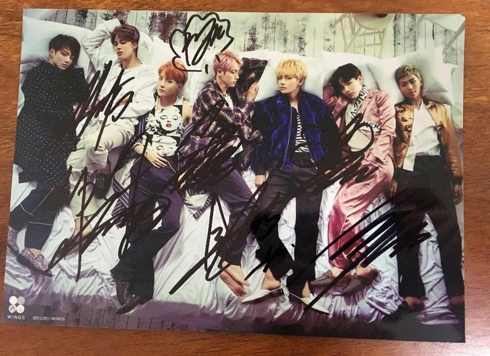 Ручная работа Bangtan Boys autographed group photo 5*7 Бесплатная доставка K POP 092018
