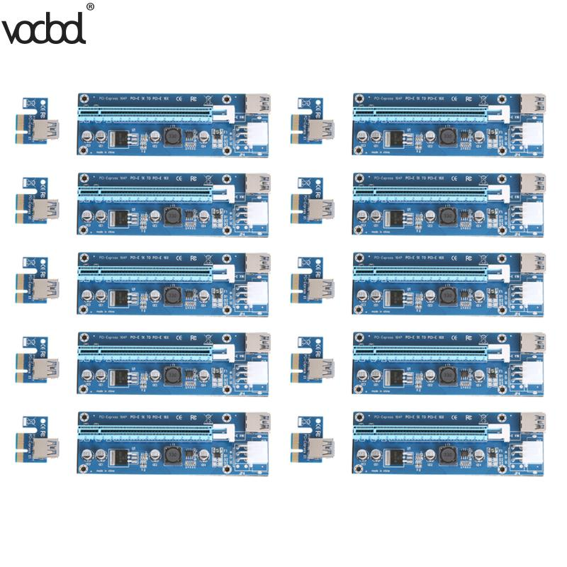 VODOOL 10pcs/lot PCI-E Express 1X to 16X Extender Riser Card Adapter SATA 15Pin Male to 6Pin Power USB 3.0 Cable for BTC Miner кабель orient c391 pci express video 2x4pin 6pin