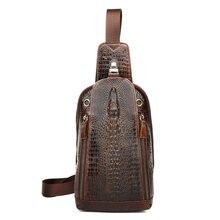 купить Bolsa Masculina New Arrivals Luxurious Genuine Leather Alligator Men Messenger Bags 2018 Hot Vintage Crocodile Head Chest Bags онлайн