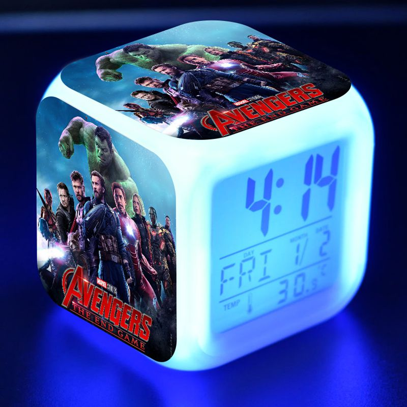 Marvel Avengers Endgame Figuras LED Alarm Clock Colorful Flash Desk Light Avengers End Game Figma Iron Man Hulk Figure Toys