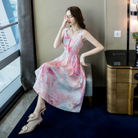 2019 Time limited Sale Polyester A line Print Sleeveless Knee length Vadim Women Dress Long Dresses In Fashion And Leisure
