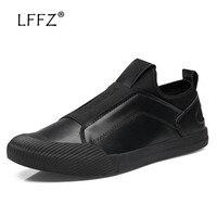 LFFZ Fashion Slip on Men Vulcanize Shoes Patchwork Cool Flat Men Casual Shoes Hard Wearing Men Shoes Round Toe Sneakers Men