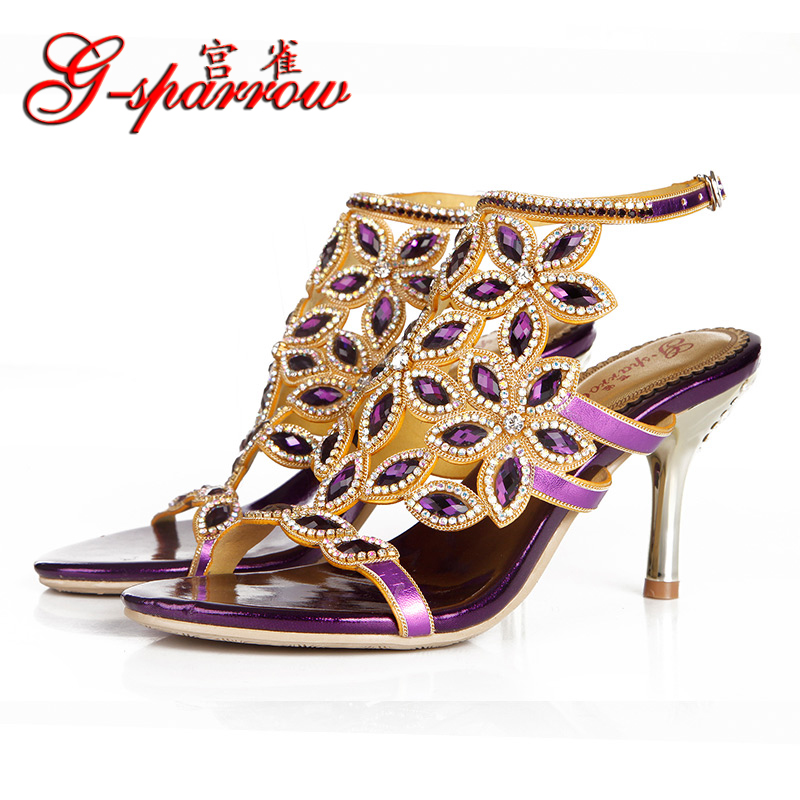 2017 Summer Elegance Sexy Girl Purple Floral Chain Retro Rhinestone High Heels Women Crystal Sandals Woman Party Wedding Shoes