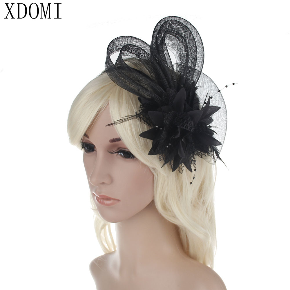 Black Flower Fascinator Hat: 3pcs/lot Feather And Flower Fascinator Hat With Black