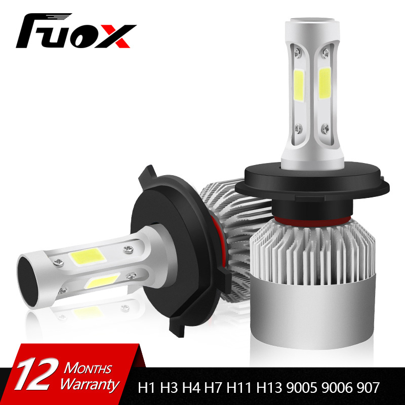 2Pcs 12V 24V Car Headlight H4 LED H7 H1 H3 H11 H13 HB2 HB4 HB5 9004 9005 9006 9007 72W 8000LM Auto Headlamp 6500K Light Bulb 2x car led headlight 12v 24v 72w 8000lm 6000k light cob bulbs automobile headlamp h1 h3 h4 h7 h8 h11 9005 9006 9004 880 9007 h13