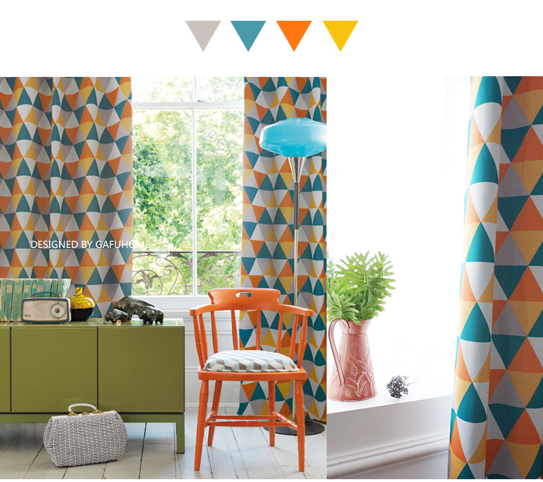 Geometric patterns nordic fashion window curtain rideaux - Rideaux originaux pour salon ...