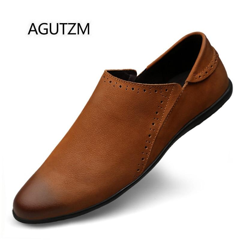 Sur Agutzm 2028 En Détachés Mode De Plat Brosser Taureau Chaussures Hommes Caoutchouc brown Style Véritable Nouvelle Cuir 100 Black Embout Glissement Le Semelle 88wqpxrS