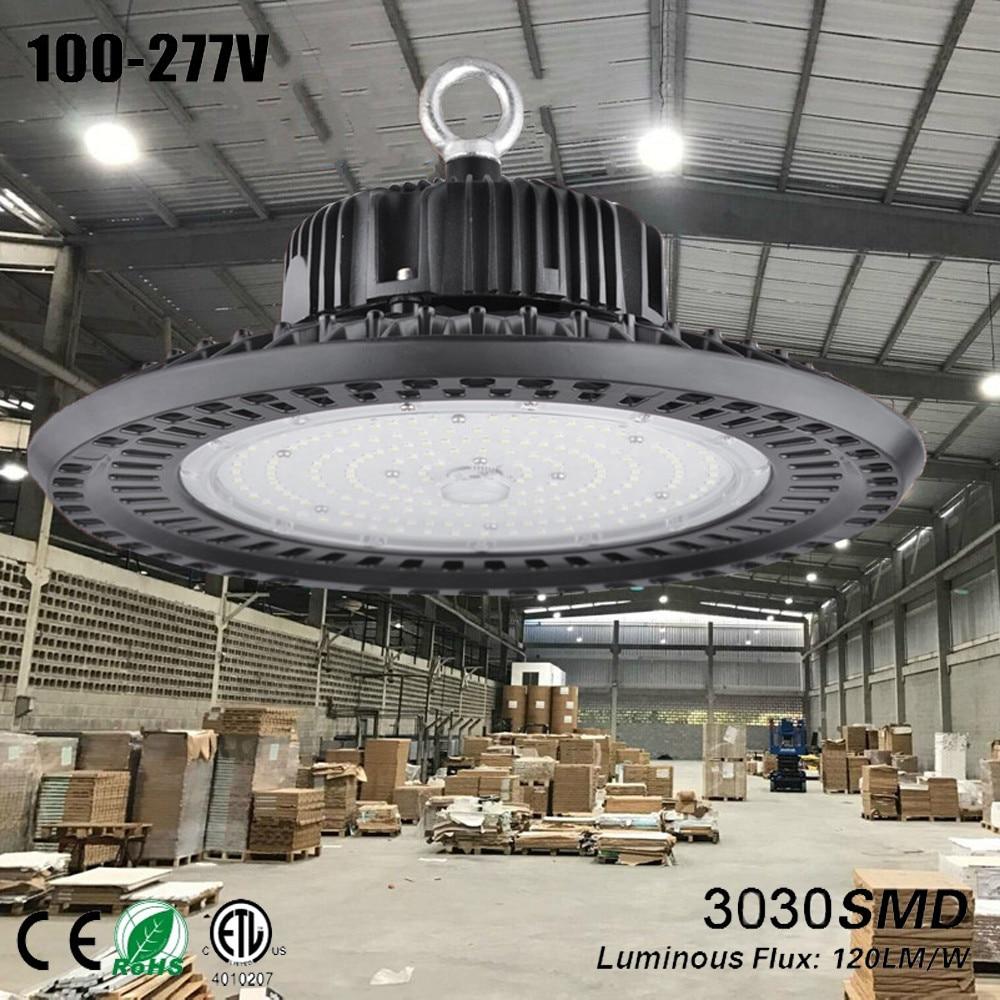 Ufo levou lampen industrieel taller bouwlamp ufo luminária alta baía conduziu a luz da garagem oficina lâmpada lâmpada luz 150 w preto armazém