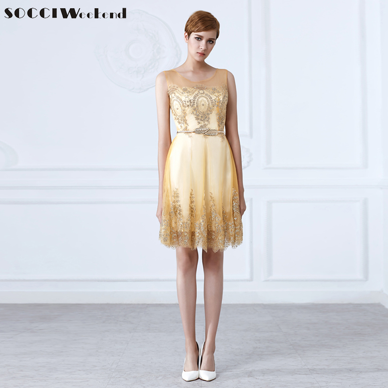 SOCCI Weekend Tulle Lace Gold   Cocktail     Dress   Short Women Elegant Bride   Dresses   Formal Prom Gown Wedding Party Vestidos De Coctel