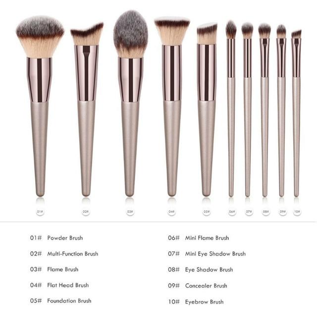 Luxury Champagne Makeup Brushes Set For Foundation Powder Blush Eyeshadow Concealer Lip Eye Make Up Brush Cosmetics Beauty Tools 1
