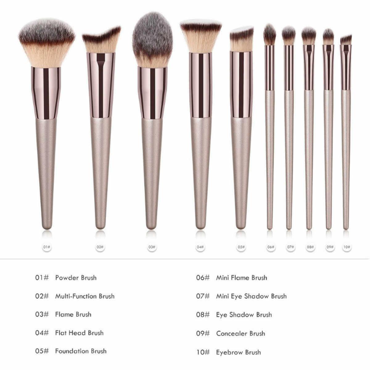 Brochas de maquillaje de champán de lujo Set para base en polvo rubor sombra de ojos corrector de labios maquillaje brocha cosméticos herramientas de belleza