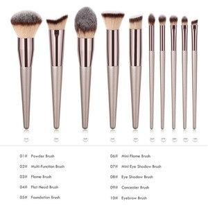 Image 2 - Kit de pinceaux de maquillage de luxe, couleur Champagne, pour poudre de fond de teint, fard à paupières, correcteur, lèvres et yeux, brosses pour produits cosmétiques, accessoires de beauté