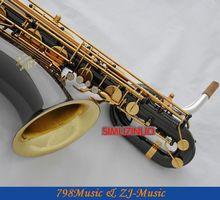 Support Professional Black Nickel Gold AND Gold Bell Baritone Saxophone Sax High F# W/Leather Case