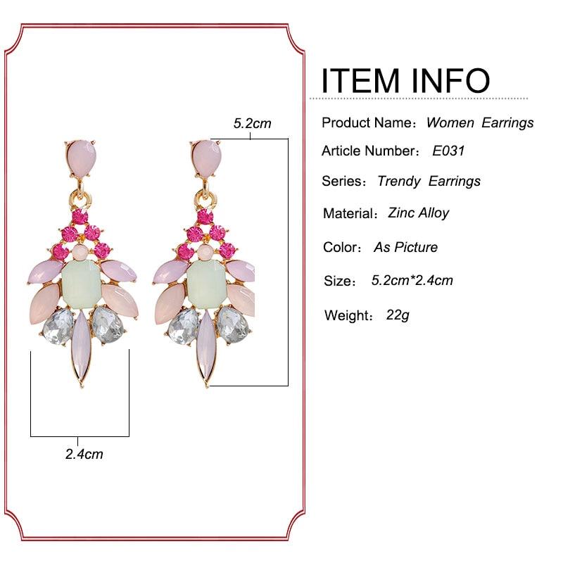 F & U Farklı Renkler ile Reçine Kristal Dangle Küpe Altın Renk - Kostüm mücevherat - Fotoğraf 6
