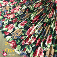 Black Bottom Rose Floral Printed Chiffon Fabric