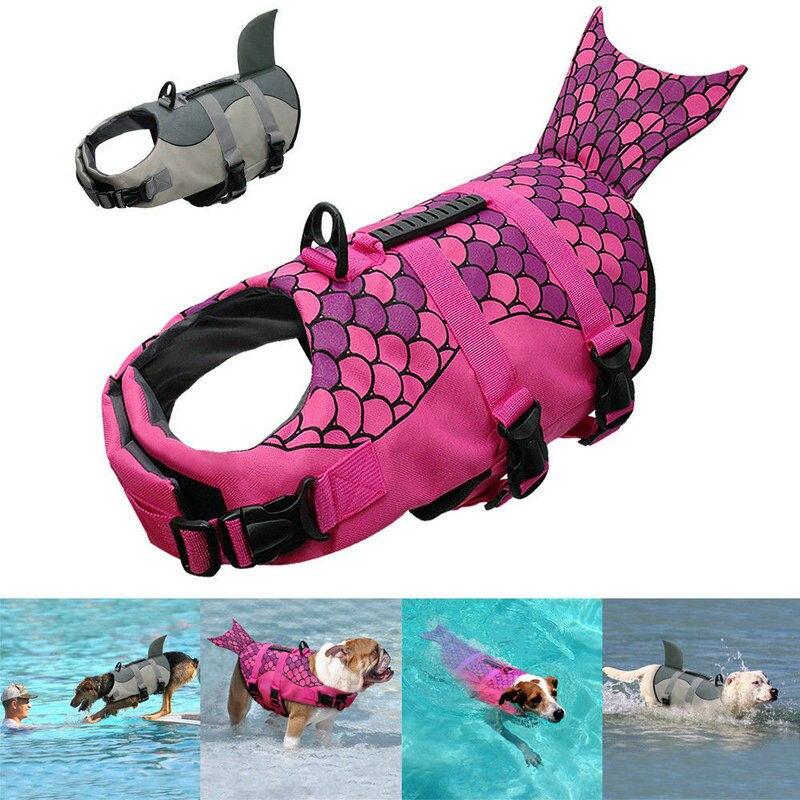 Pet Dog Swimming Life Jacket Buoyancy Aid Float Vest Adjustable Lifesaver Aid Dog Life Vest Shark Pet Jacket Swimming Clothes