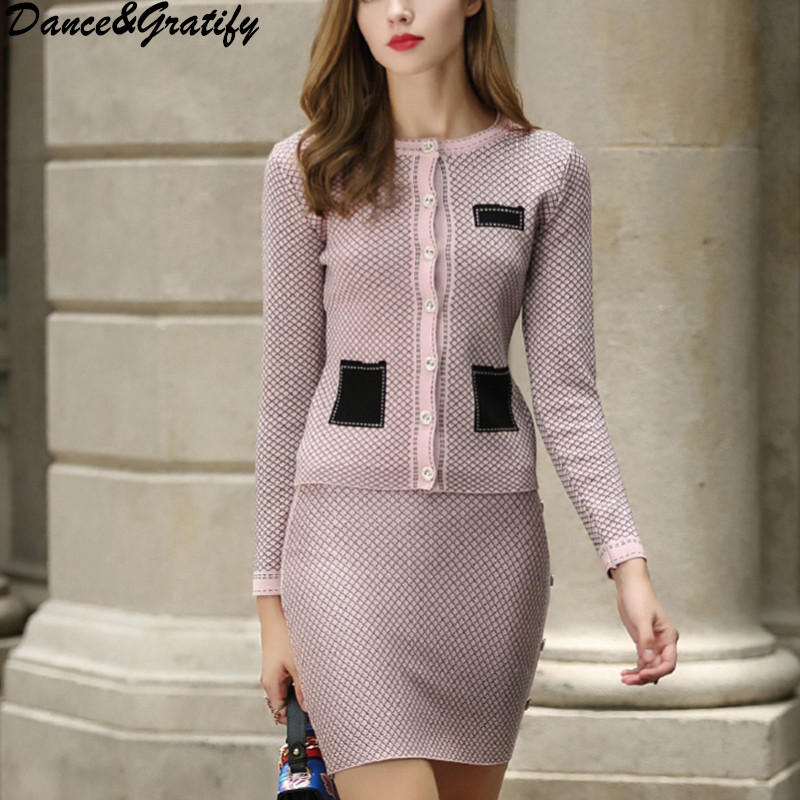 New Fashion Single Breasted Office Work Sweater 2 Two Piece Set Women Knitting Cardigans Cropped Slim Bodycon Skirt Suit