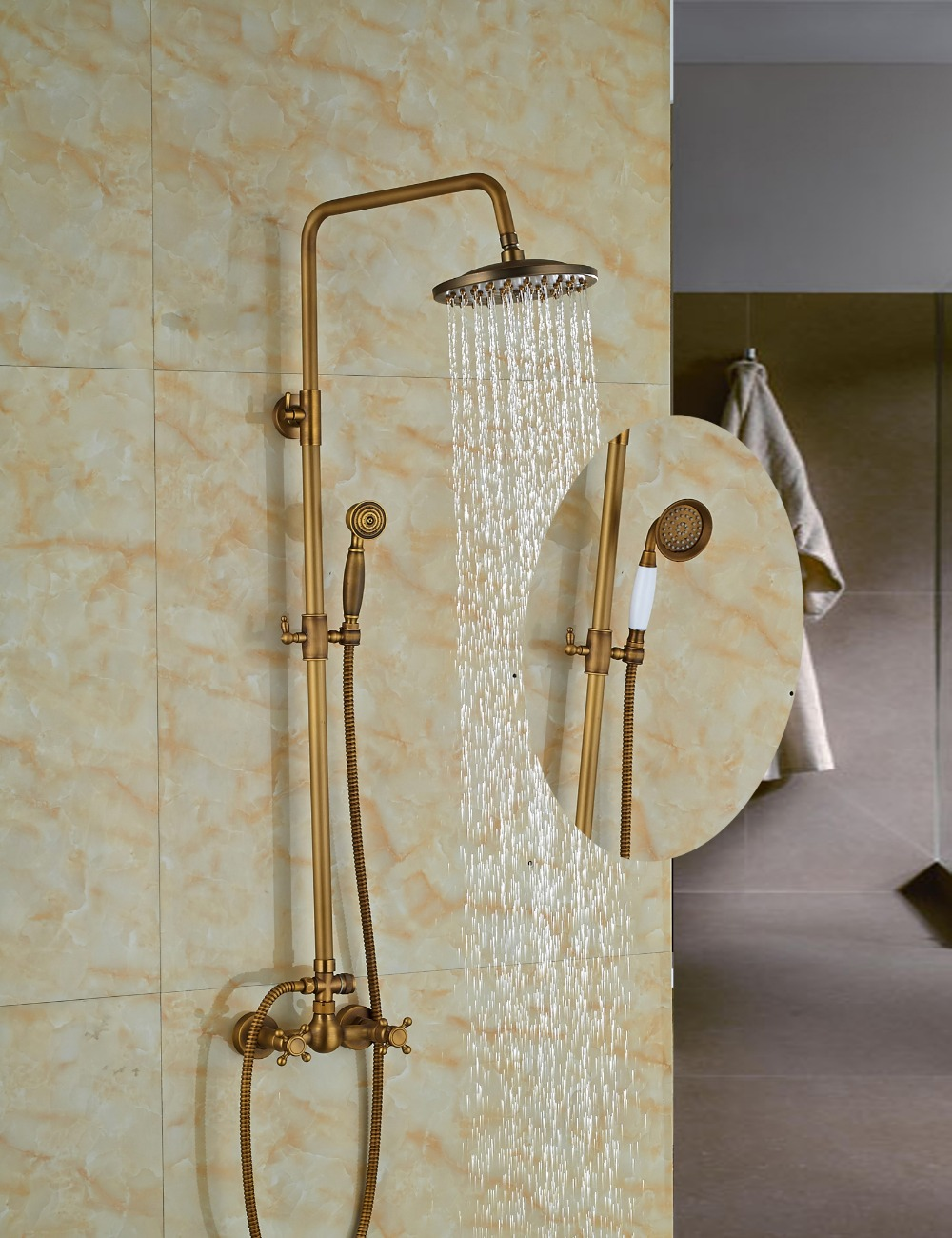 "Wholesale And Retail Promotion Wall Mounted 8"" Round Rain Shower Faucet Set Dual Handles W/ Hand Shower Sprayer Antique Brass"