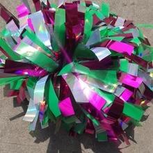 """Болельщик англичане 3/"""" х 6""""~ Черлидинг помпонами пластиковый зеленый/светло-зеленый металлик/металлик ярко-розовый цвет смешанный"""
