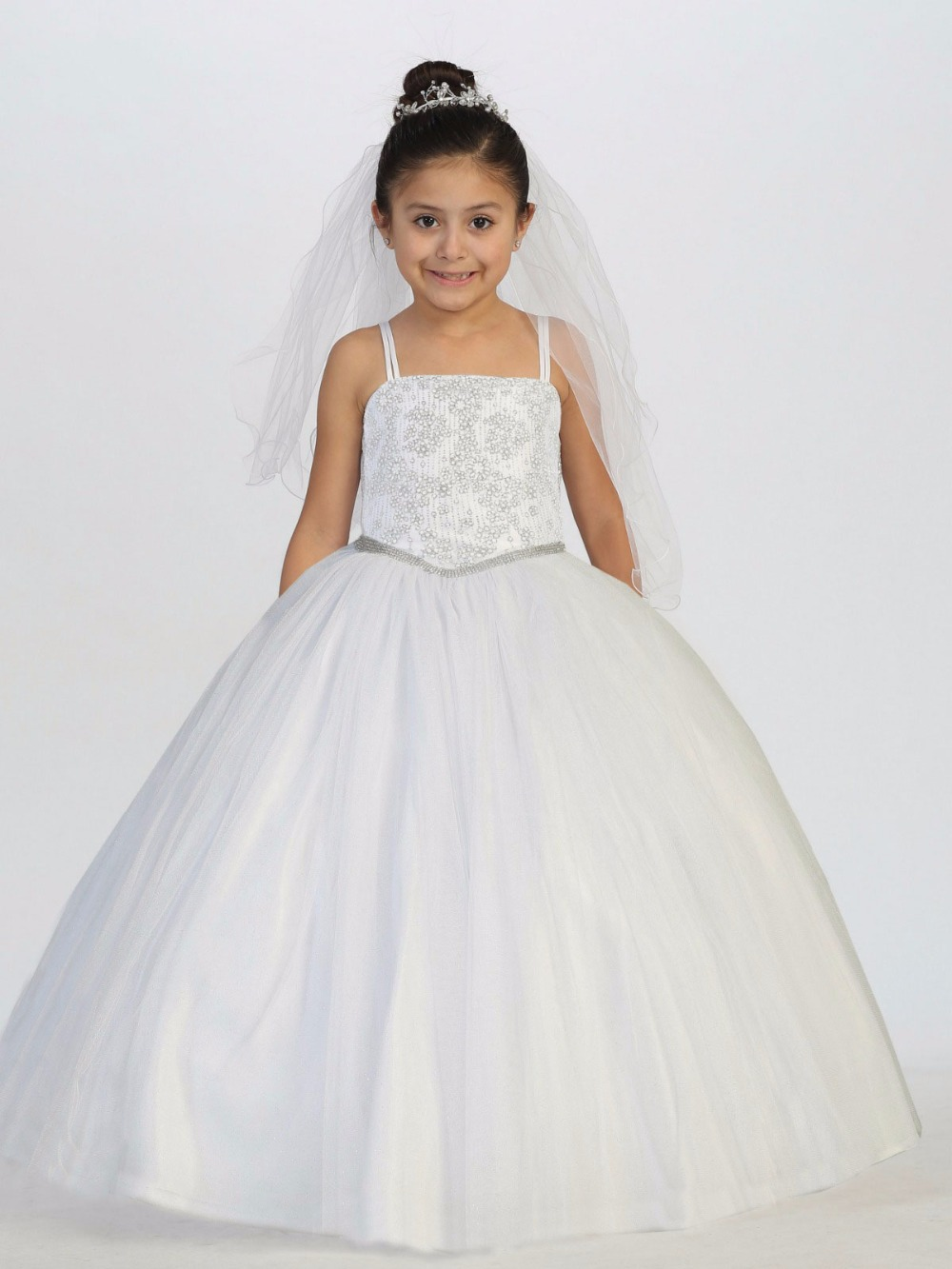 Luxury Bling Bling New Flower Girls Dresses 2017 Ball Gown White Tulle Beading Princess First Communion Dress Free Shipping 4pcs new for ball uff bes m18mg noc80b s04g