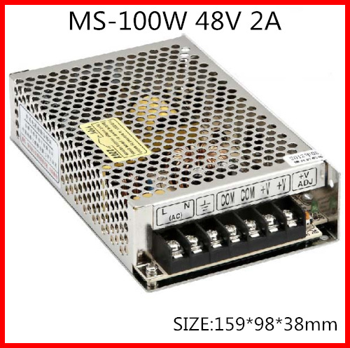 100W 48V 2A MINI Compact Single Output Switching power supply for LED Strip light  AC-DC Free Shipping free shipping 35w 24v 1 5a single output mini size switching power supply for led strip light ms 35 24