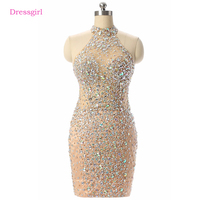 Champagne 2017 Elegant Cocktail Dresses Sheath Halter Short Mini Tulle Crystals Beaded See Through Homecoming Dresses