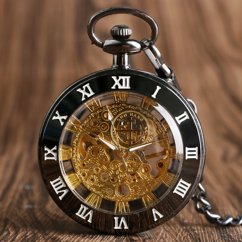 SHUAHANG Vintage Mechanical Pocket Watch For Men Women Steampunk Open Face Fob Pocket Chain Pendant Clock Gifts Roman Numerals