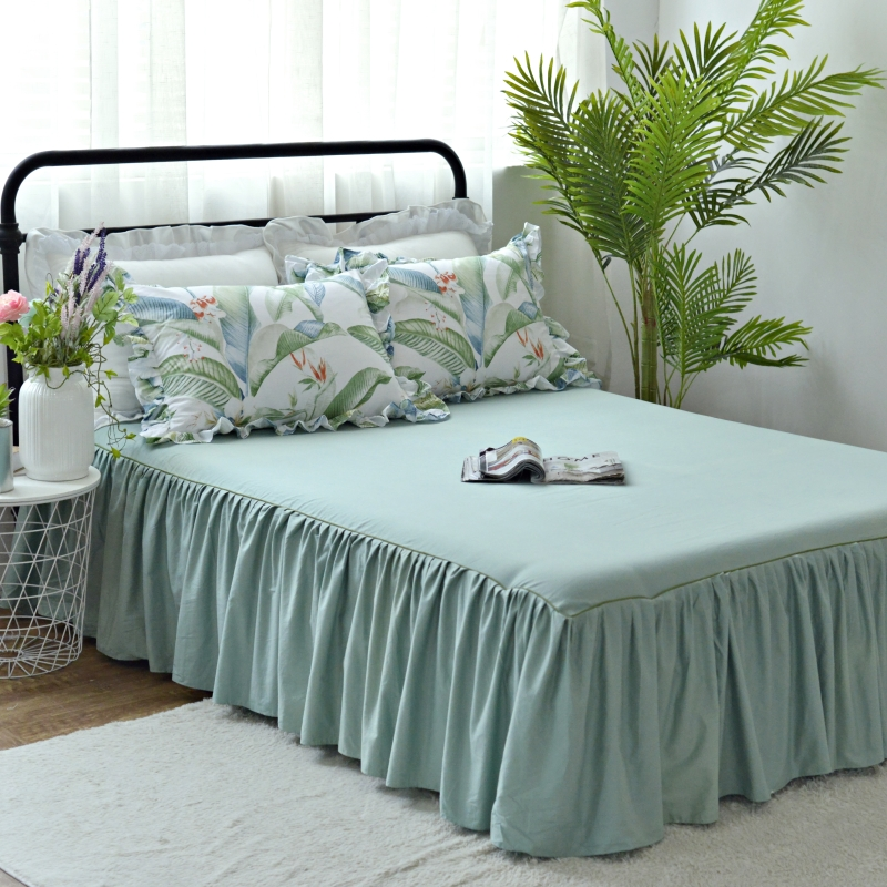 Leaves 3Pcs Cotton Bed Skirt Mattress Cover Twin Full Queen King Bed Skirts green Bedspread BEDSKIRT