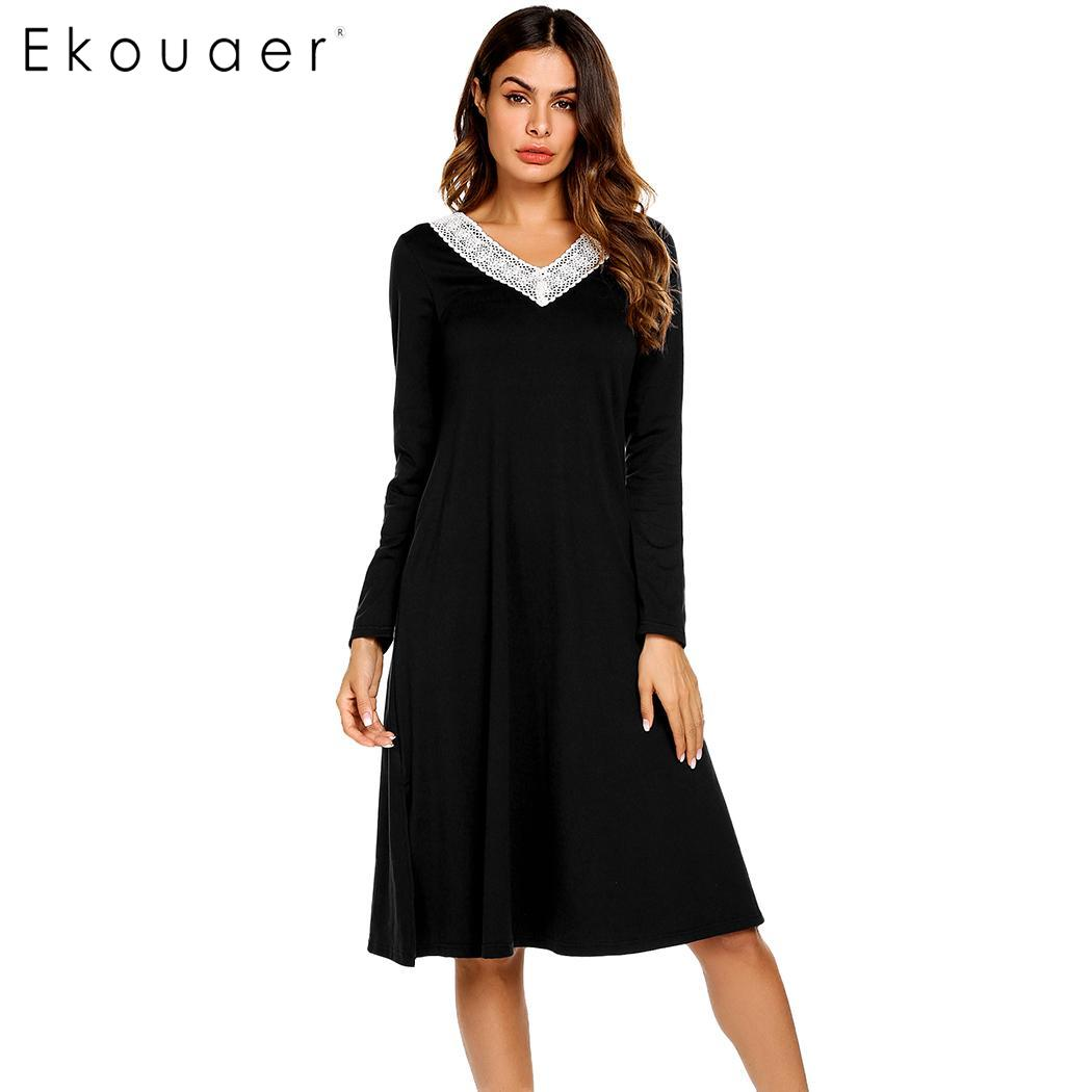 Ekouaer Autumn Long   Nightgowns     Sleepshirts   Long Sleeve Sleepwear Casual Women Lace V-Neck Loose Nightdress   Nightgown   Home Dress