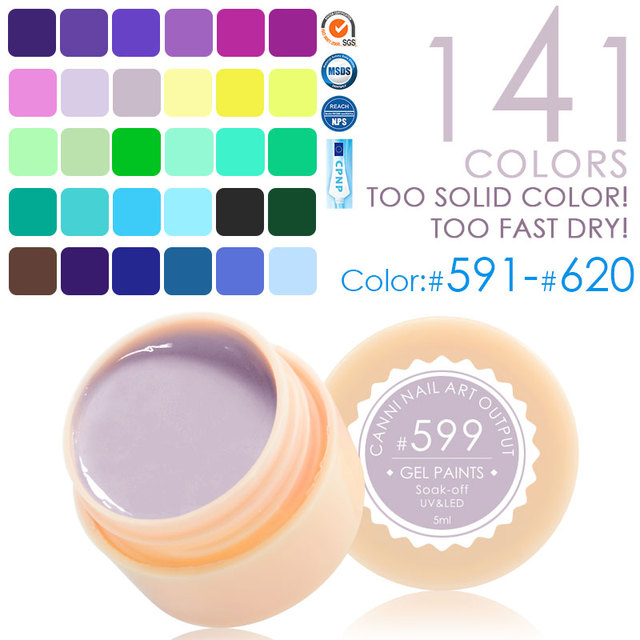 141 Color CANNI Professional Nail Art Design 5ml UV LED Soak Off Paint Gel Ink UV Gel For Nails
