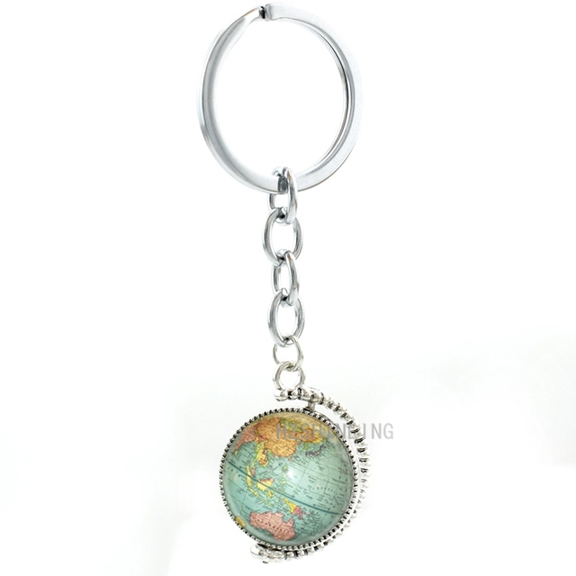 Hot selling earth keychain double sides rotatable globe world map hot selling earth keychain double sides rotatable globe world map art key chain ring holder jewelry gumiabroncs Image collections