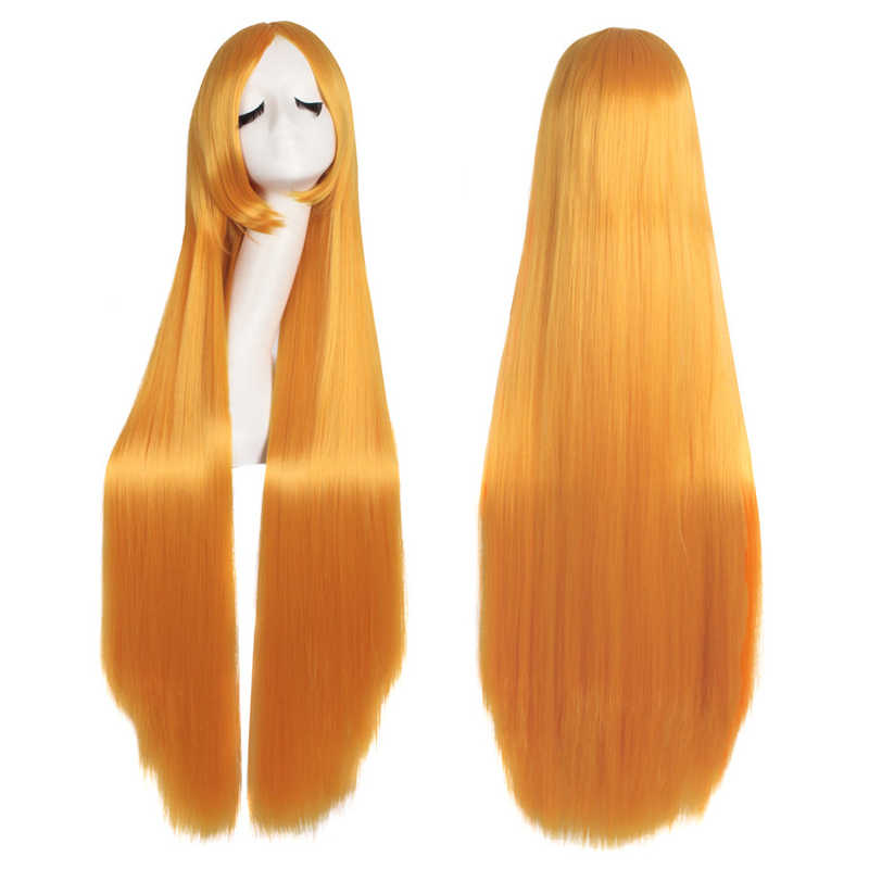 """MapofBeauty 39 """"Длинные прямые парики для косплея челка костюм мультфильм ролевые волосы белый синий розовый черный блонд парик синтетические волосы"""